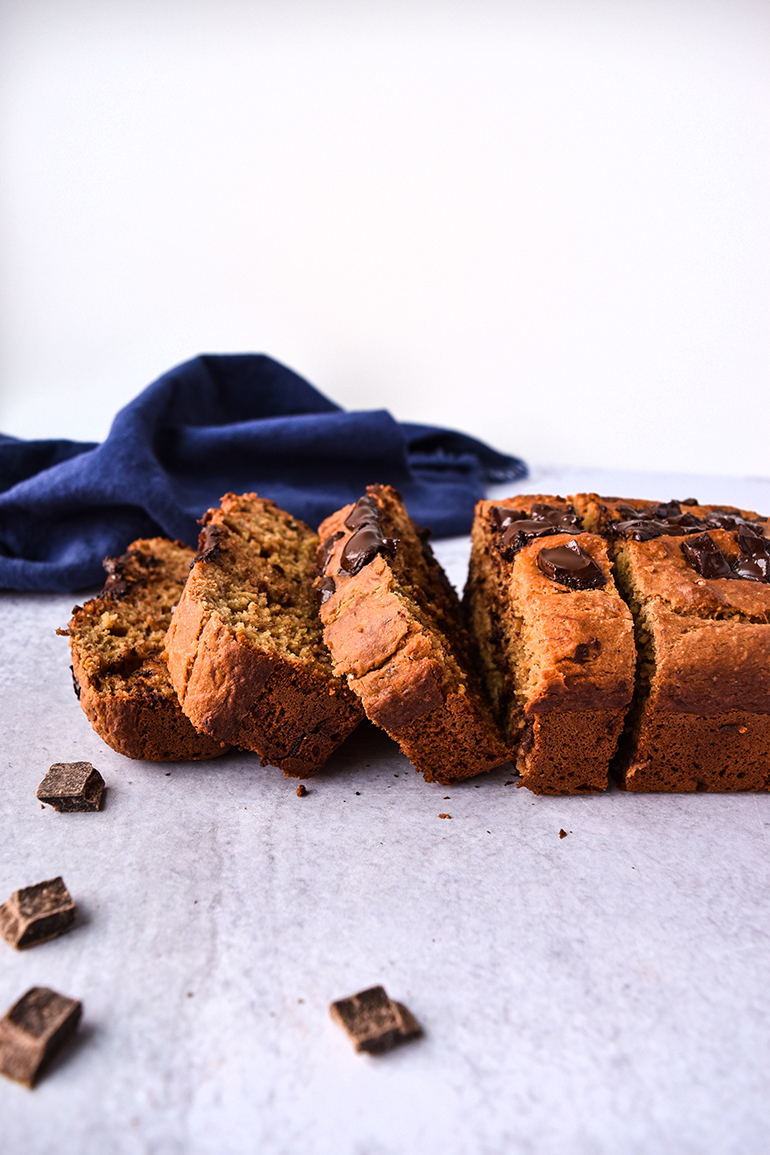 Peanut Butter Banana Bread with a blue towel
