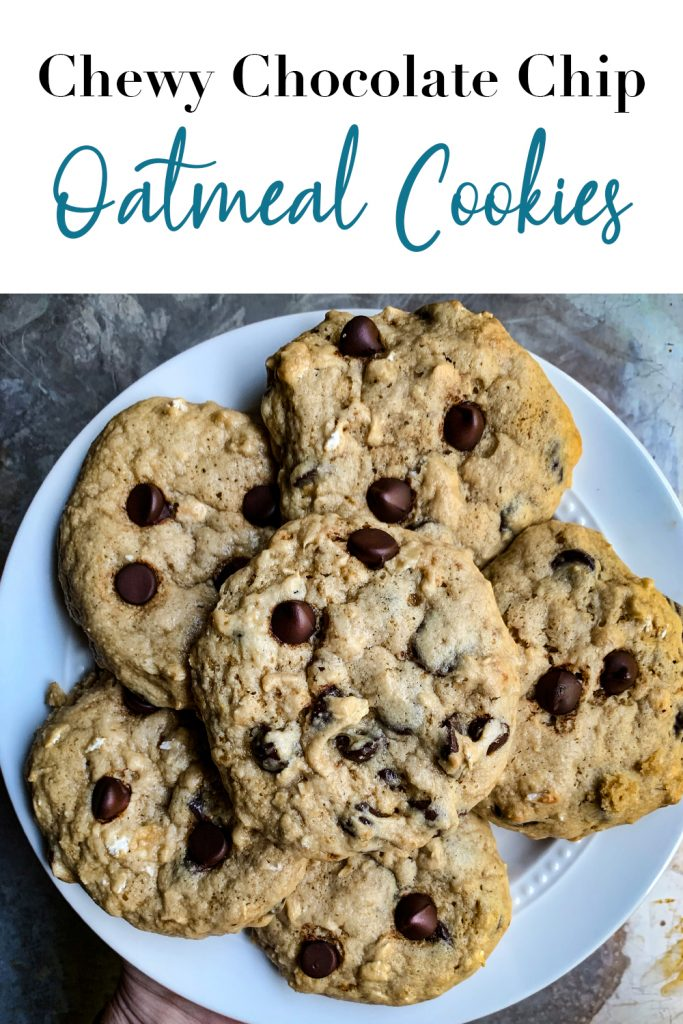 Chewy Chocolate Chip Oatmeal Cookies Pin