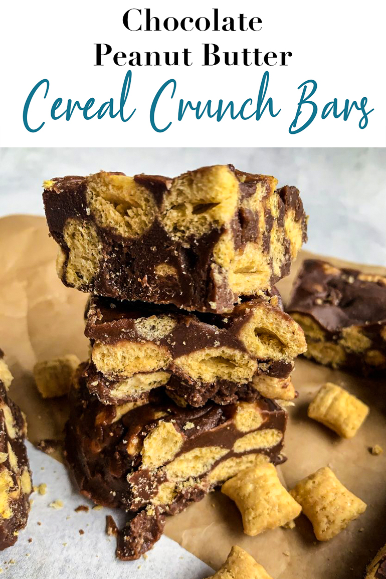 Chocolate Peanut Butter Cereal Crunch Bars Pin