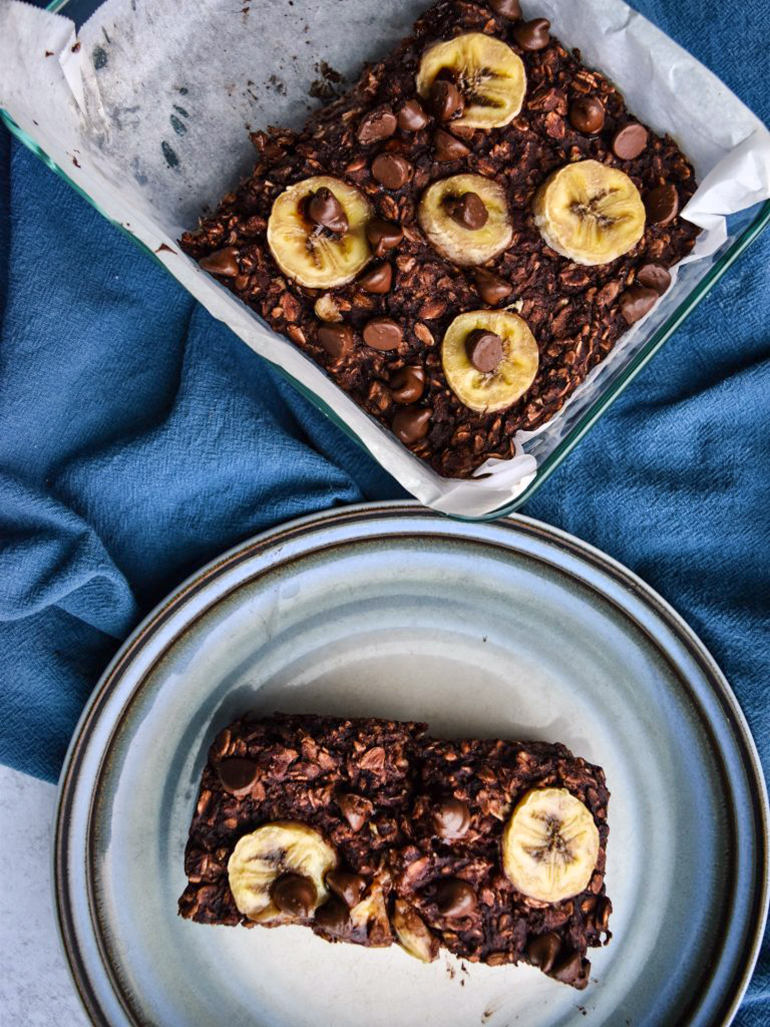 Double Chocolate Oatmeal Bake on a blue plate