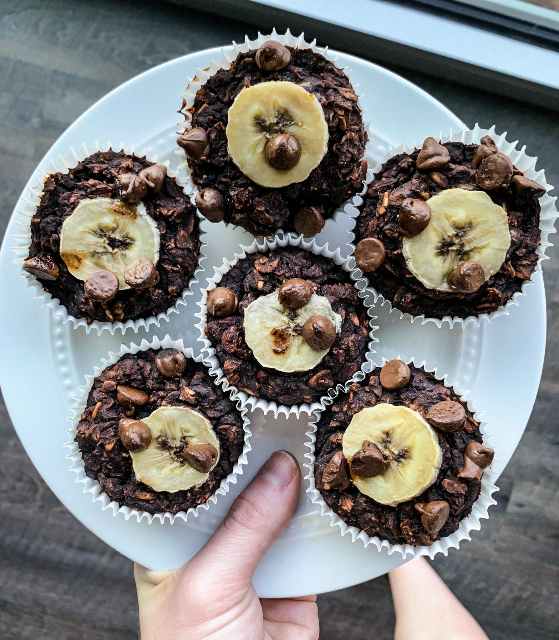 Double Chocolate Oatmeal Muffin Cup on a white plate