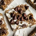 Easy Date Freezer Bars on parchment paper