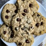 Chewy Chocolate Chip Oatmeal Cookie on a white plate