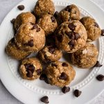 Simple Peanut Butter Cup Bliss Balls on a plate