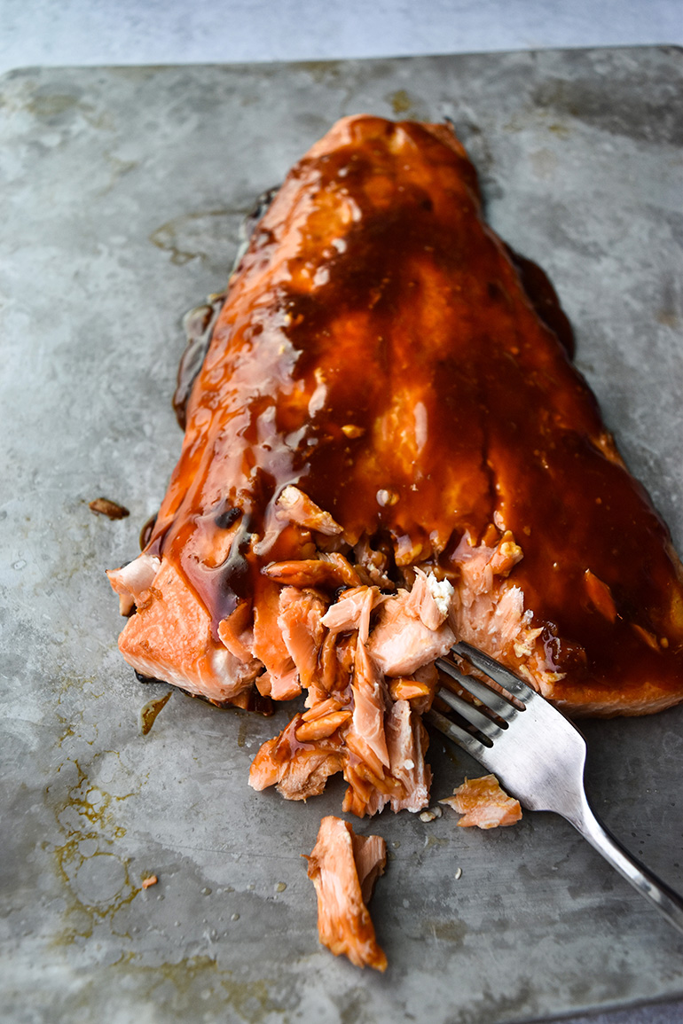 Spicy Firecracker Salmon on a baking tray
