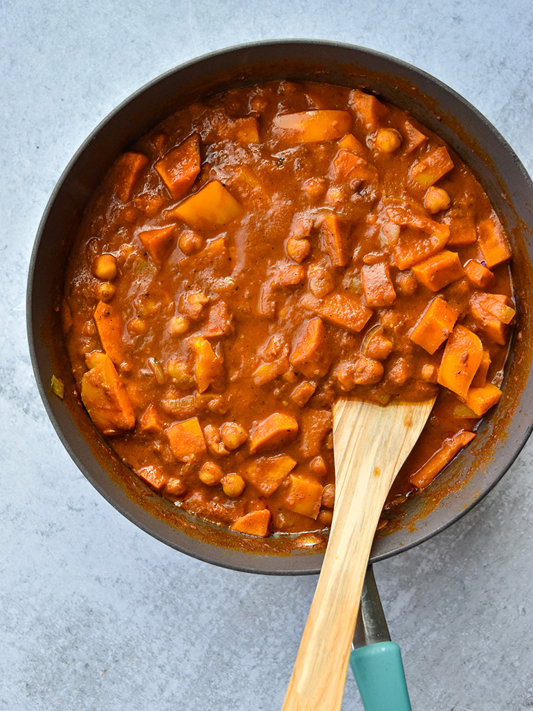 Sweet Potato Chickpea Curry in a pan