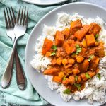 Sweet Potato Chickpea Curry on a white plate