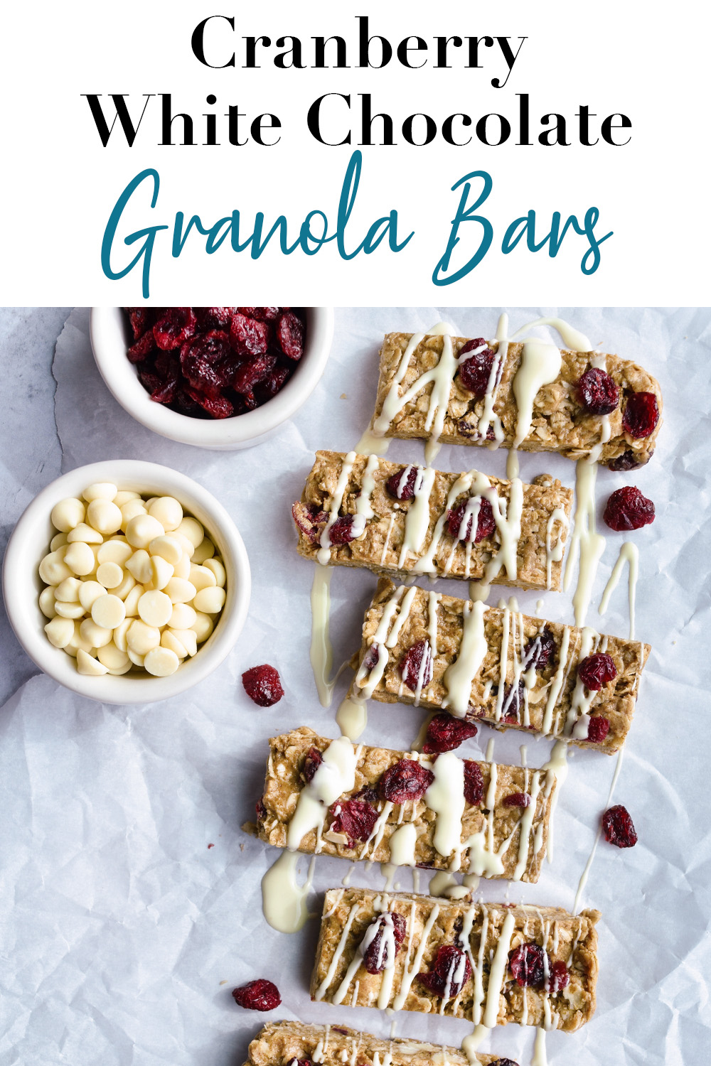 Cranberry White Chocolate Granola Bars Pin