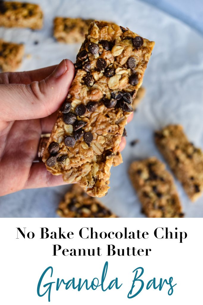 No Bake Chocolate Chip Peanut Butter Granola Bars Pin