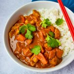 Saucy 30 Minute Chicken Curry in a white bowl