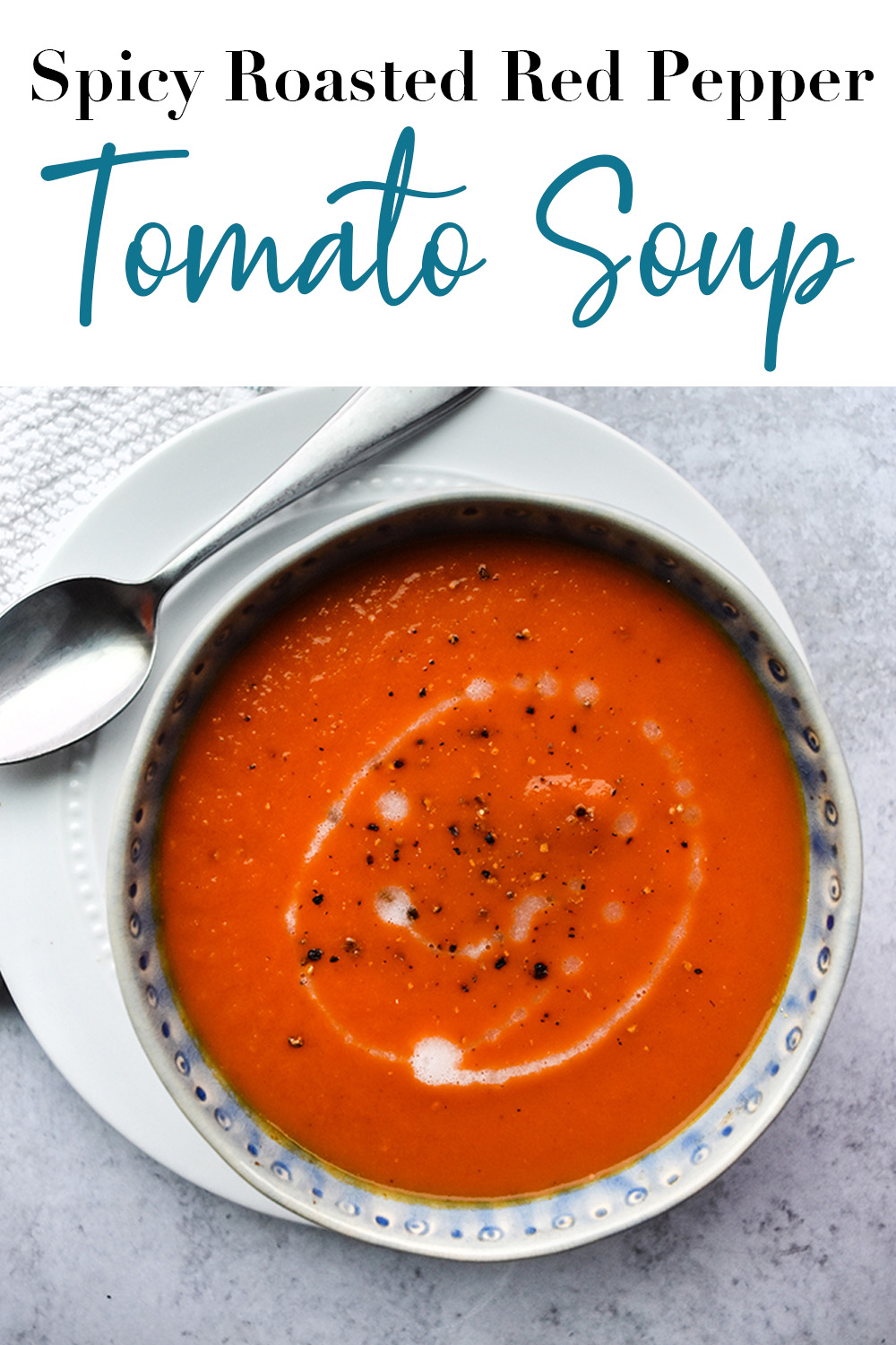 Spicy Roasted Red Pepper Tomato Soup pin