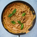 Super Creamy Roasted Red Pepper Pasta in a pan
