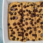 Healthy Chocolate Chip Oatmeal Bars in a pan