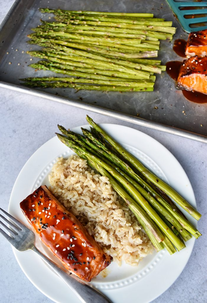 Salmon and Asparagus on a cooking tray