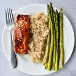 Salmon and Asparagus on a white plate