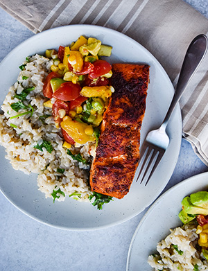 Salmon and rice on a white plate