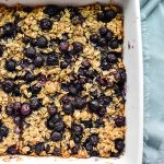 Blueberry Baked Oatmeal in a white pan