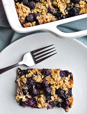 Blueberry Baked Oatmeal on a white plate