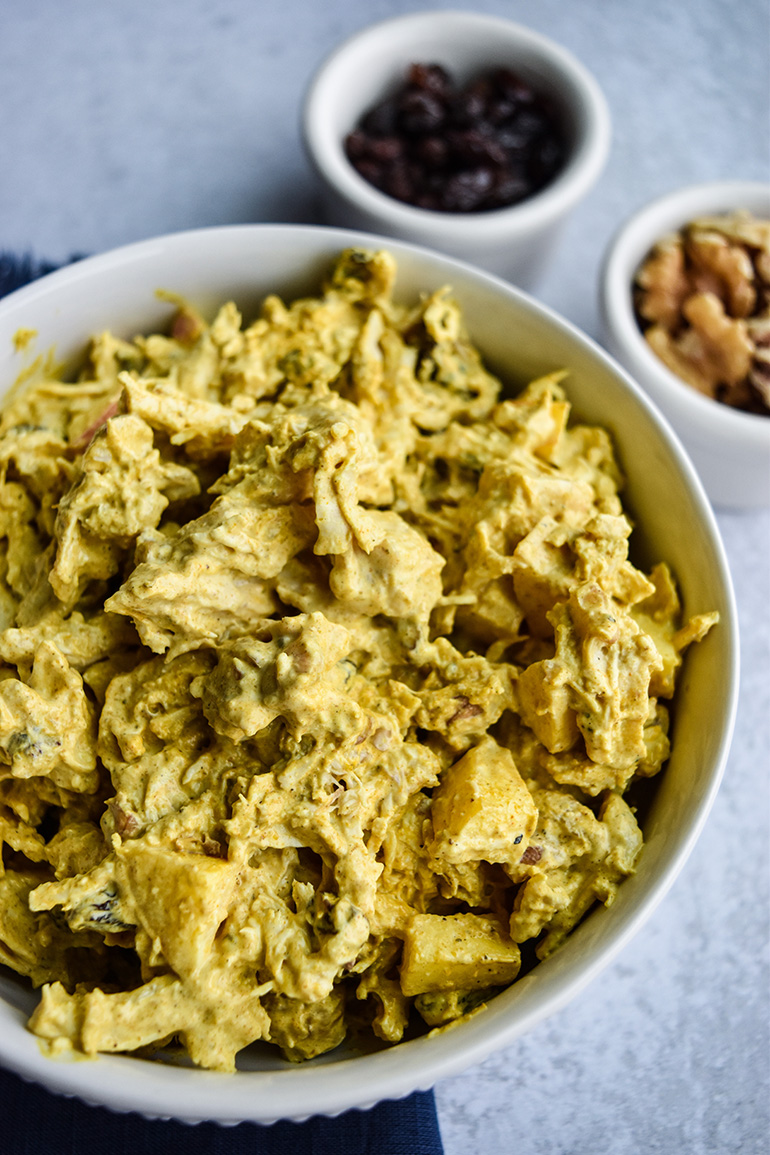 Curried Chicken Salad in a white bowl
