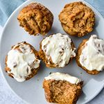 Sweet Potato Chai Muffins on a white plate