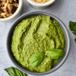 Walnut Spinach Pesto in a blue bowl
