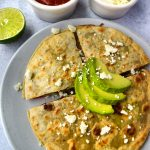 Black Bean Veggie Quesadillas on a white plate
