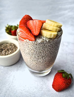Creamy Vanilla Chia Pudding in a glass