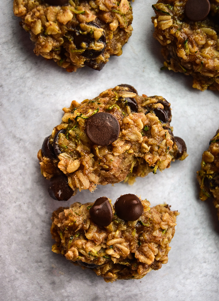 Zucchini Bread Breakfast Cookies on a white background