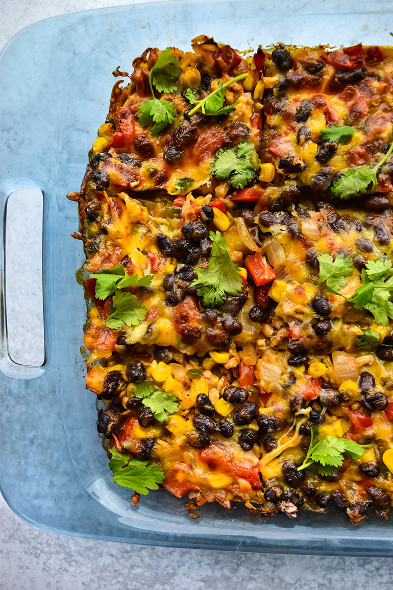 Easy Taco Casserole in a blue dish