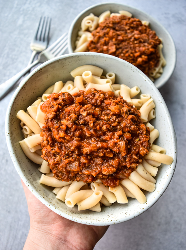Easy Vegan Bolognese in a white bowl