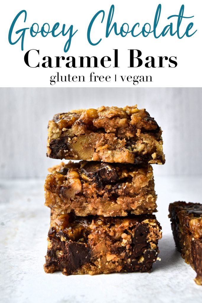 Gooey Chocolate Caramel Bars pin