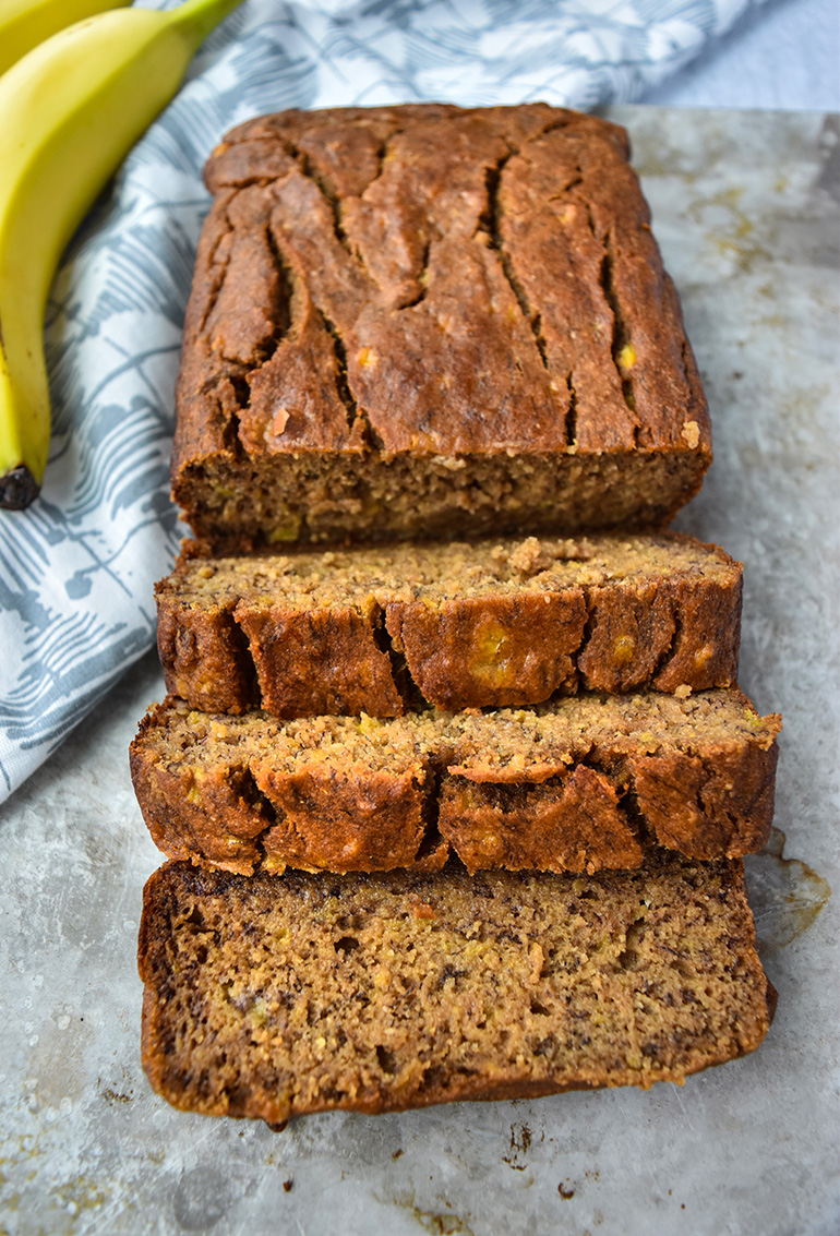Best Ever Healthy Banana Bread on a baking tray
