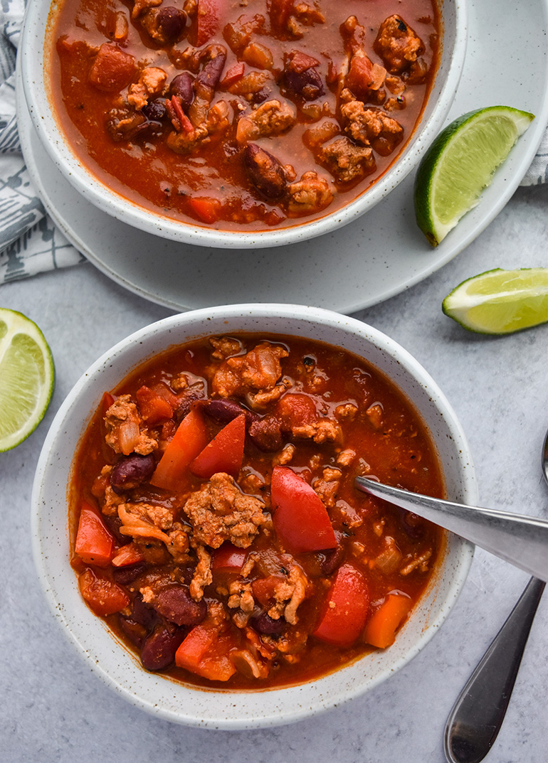 Fire Roasted Turkey Chili in a white bowl