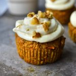 Healthy Carrot Cake Cupcake with walnuts and icing