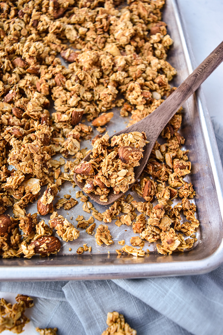 Honey Almond Granola on a baking tray