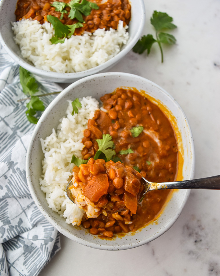 Creamy Coconut Lentil Curry in a white bowl