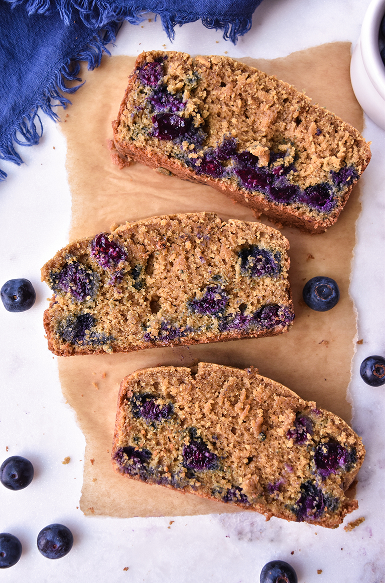 Easy Breakfast Blueberry Bread on parchment paper