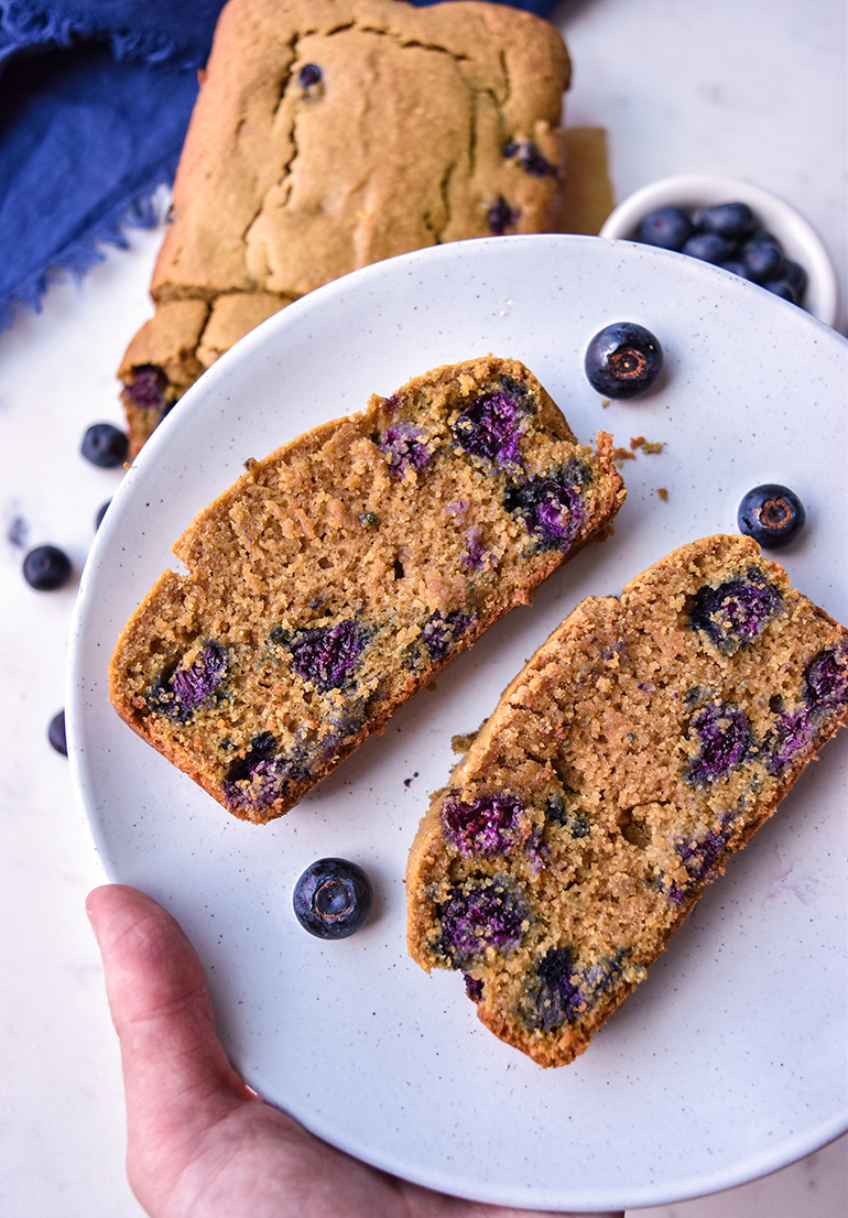 Easy Breakfast Blueberry Bread on a white plate