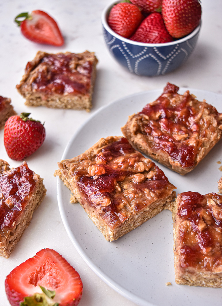 Peanut Butter & Jelly Oatmeal Bake on a white plate