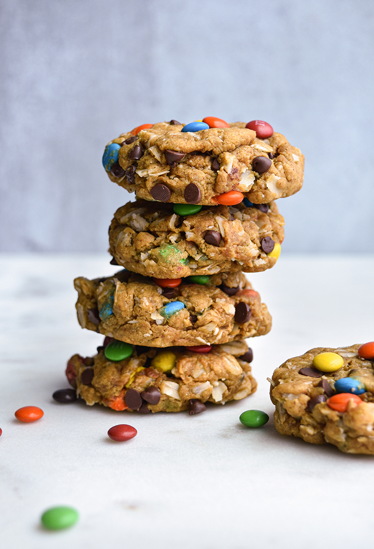 Monster cookies in a stack