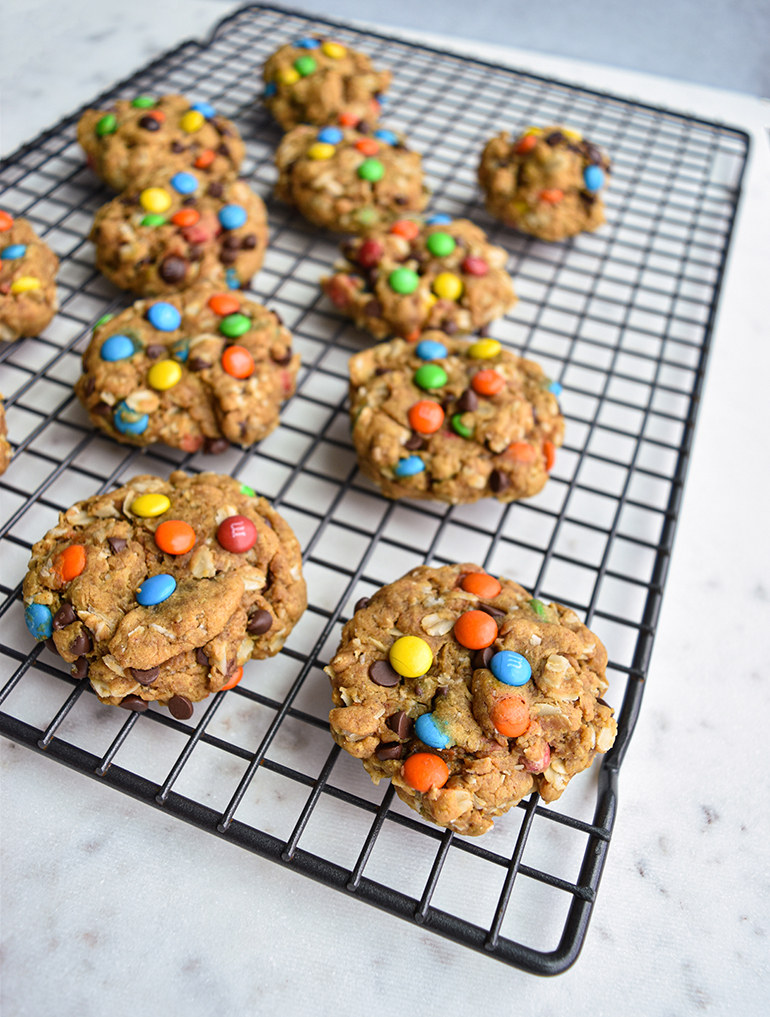 monster cookies on a cookie rack