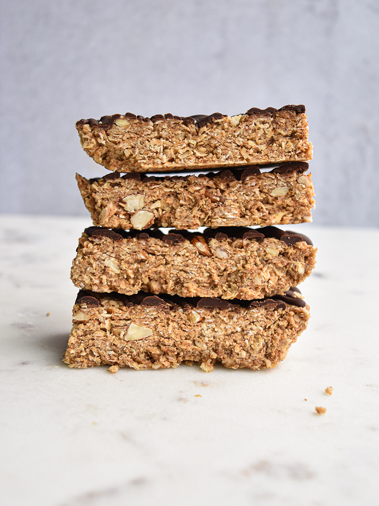 granola bar covered in chocolate