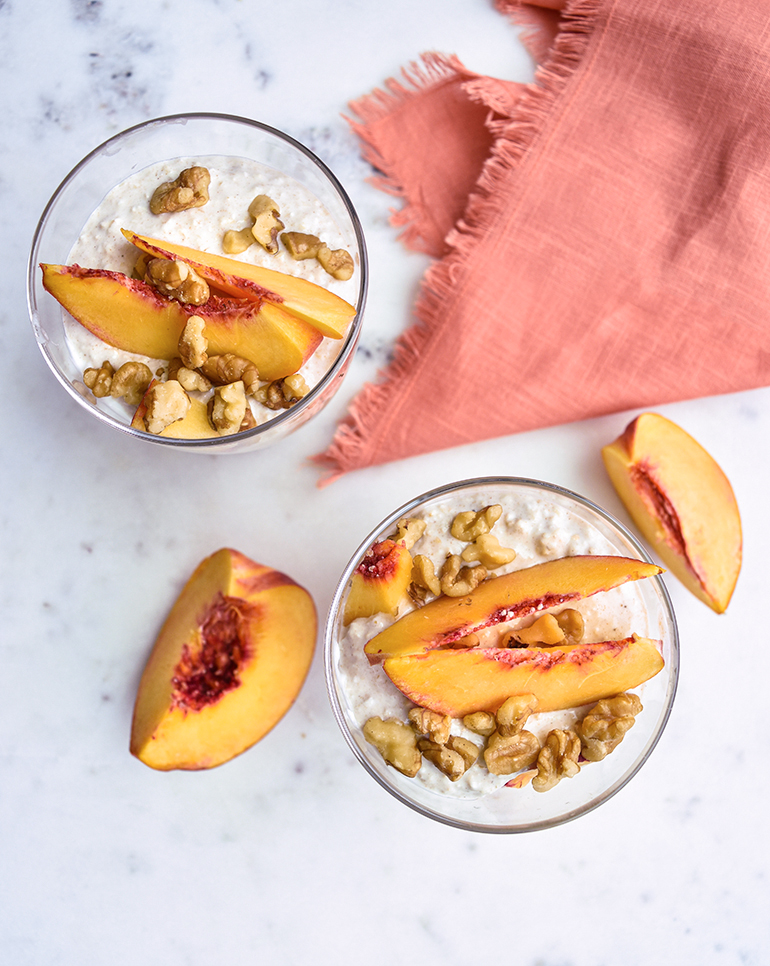 Peach and oatmeal in a glass