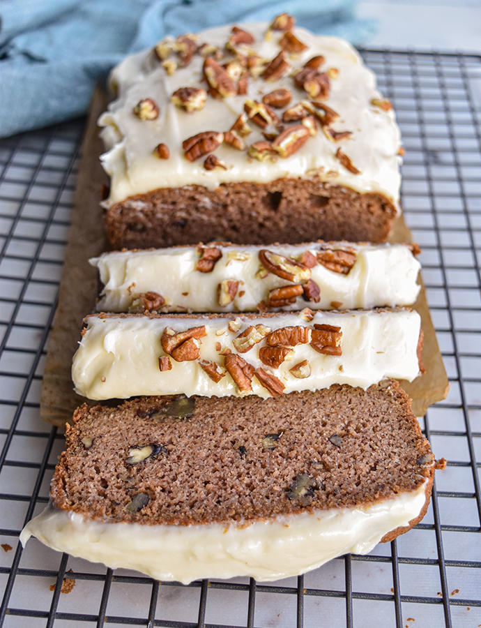 Maple Pecan Bread with Cream Cheese Icing