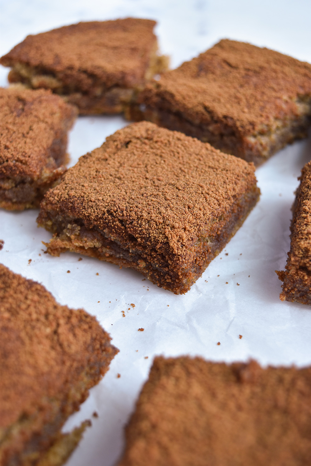 Hand holding Tahini Snickerdoodle Cookie Bars
