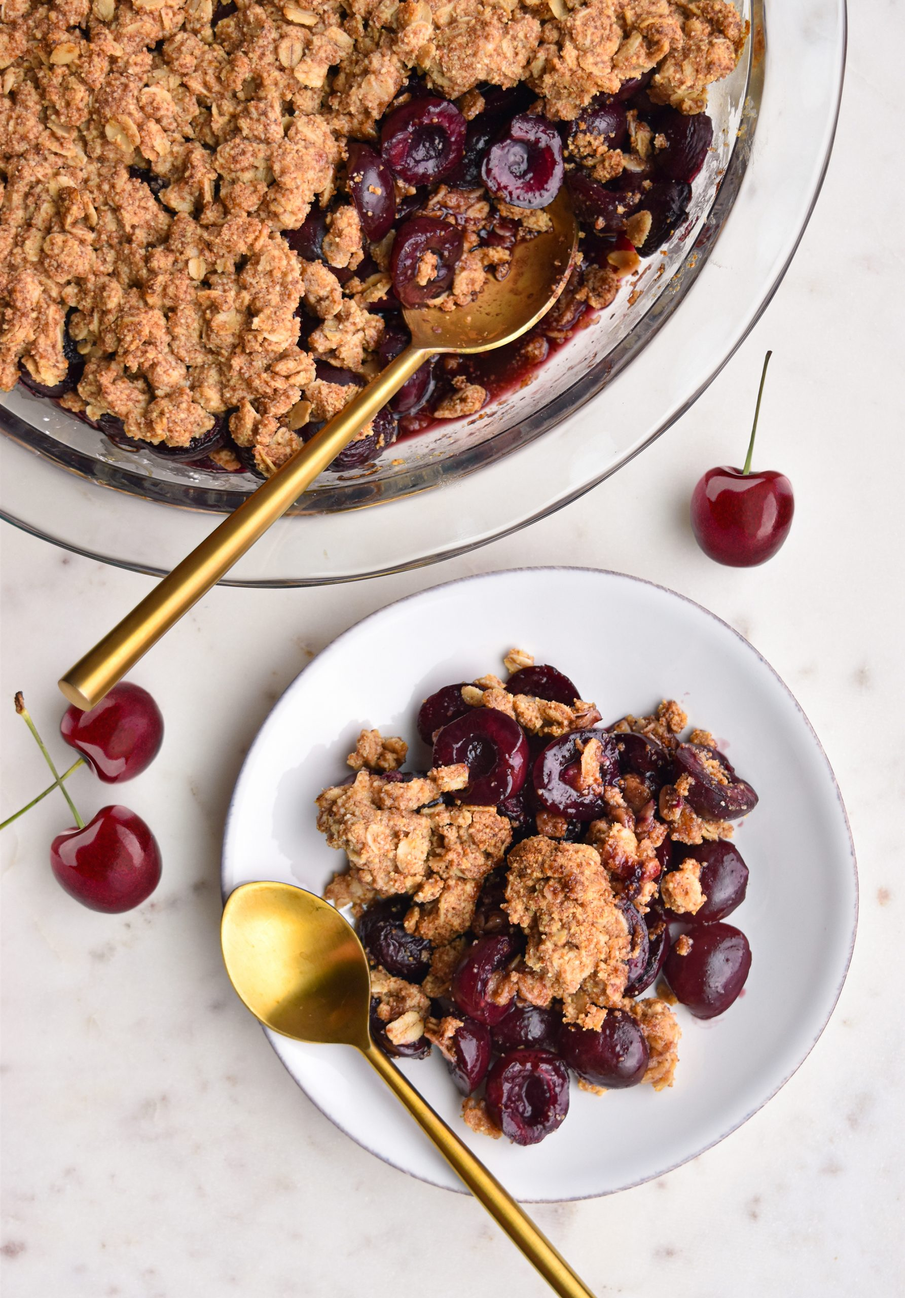 Healthy Cherry Crisp on a white plate