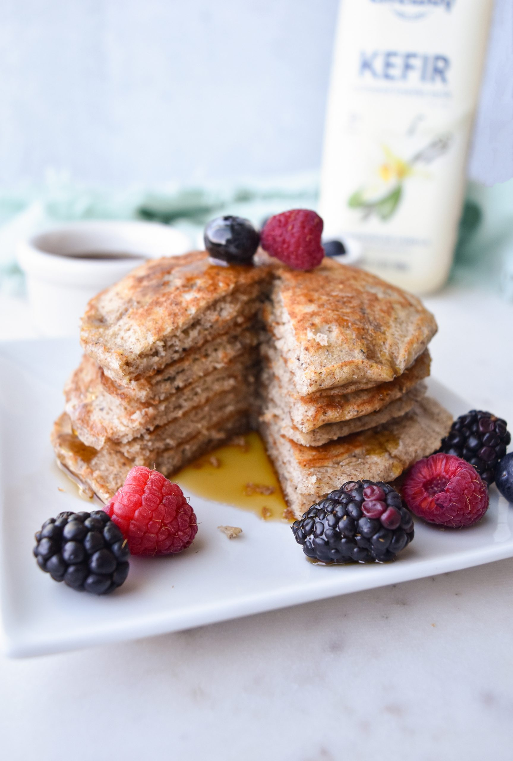 Pancakes on a white plate